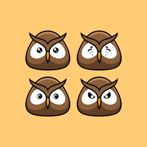 Definir personagem de desenho animado bonito corujas com ilustração vetorial de expressão diferente