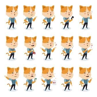 Definir personagem gato bonito com poses diferentes em estilo design plano