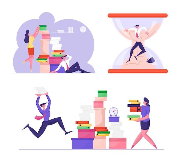 Definir personagens de negócios participar de competição corporativa e corrida