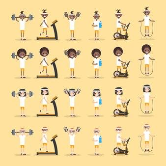 Definir personagens jovens fazendo exercício.