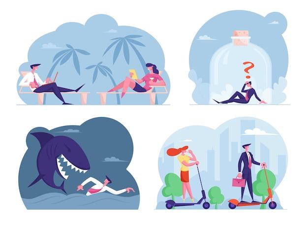 Definir personagens masculinos e femininos executivos trabalhando distantes de um resort exótico