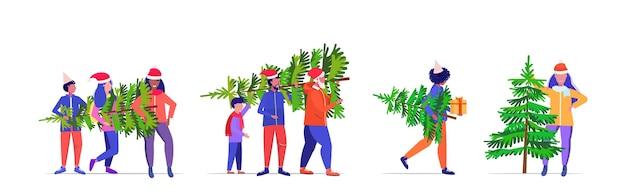 Definir pessoas carregando recentemente cortar árvore de natal celebração de férias de inverno