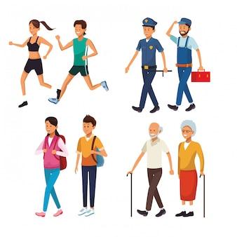 Definir pessoas da cidade andando de desenhos animados