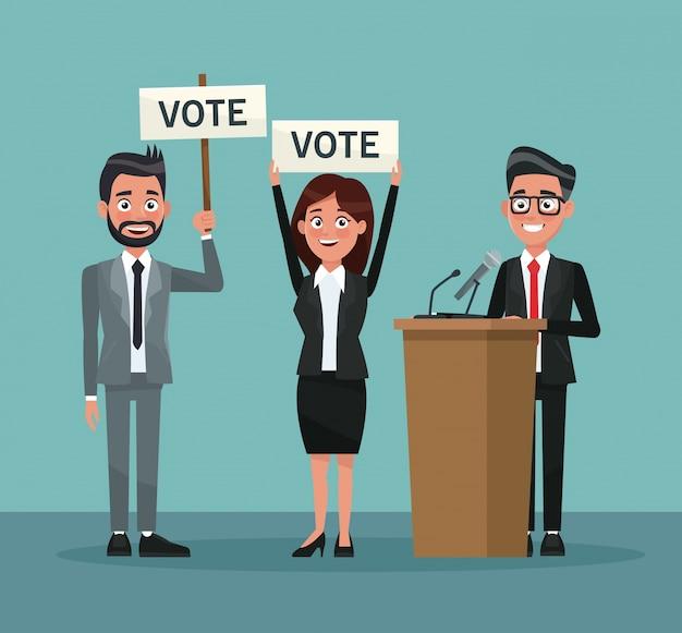 Definir pessoas em terno formal com banner promovendo votação e candidato em apresentação