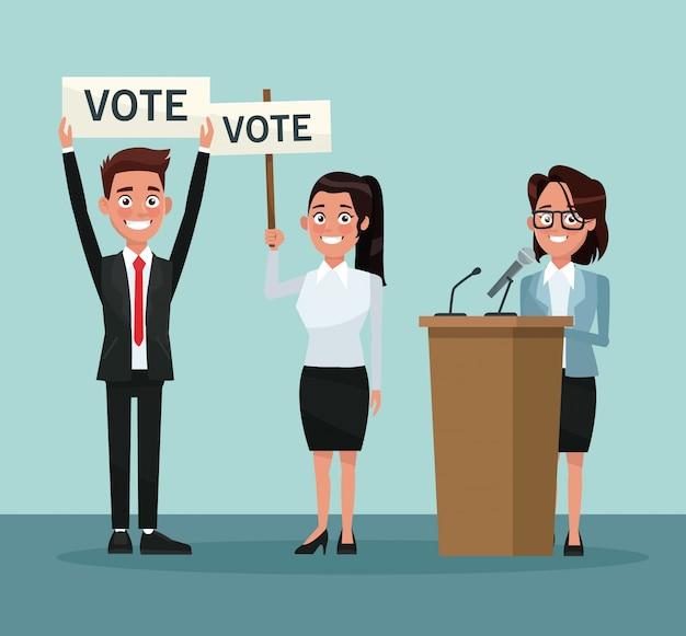 Definir pessoas em terno formal com voto promocional de banner e candidato feminino em apresentação