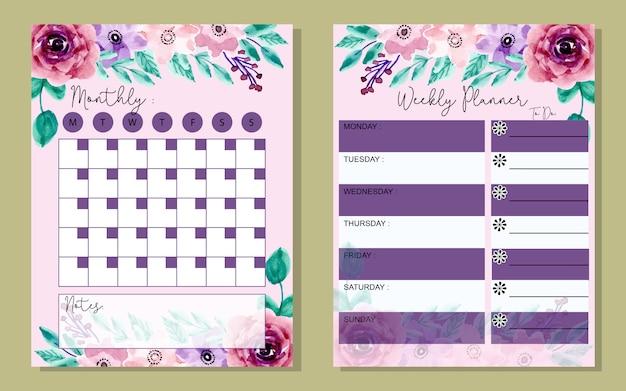 Definir planejador mensal e semanal com flor aquarela