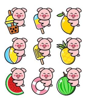 Definir porco fofo com conceito de verão