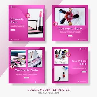 Definir post de modelo de banner para venda de cosméticos. Vetor Premium