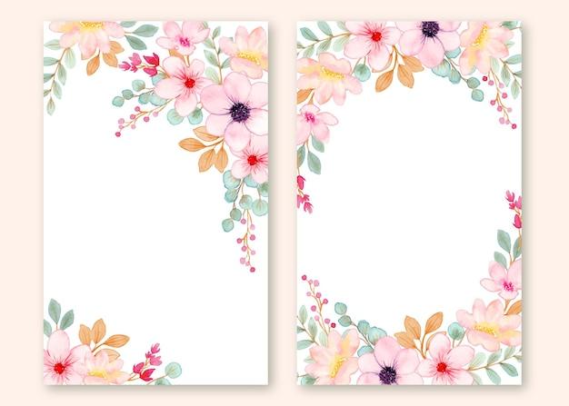 Definir quadro de flor rosa fofa de cartão com aquarela