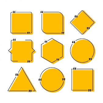 Definir quadros de cotação. modelo em branco com citações de design de informações de impressão.