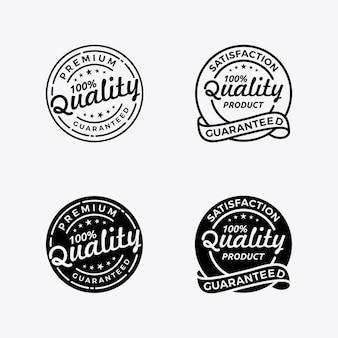 Definir qualidade garantida emblema emblema carimbo logotipo design