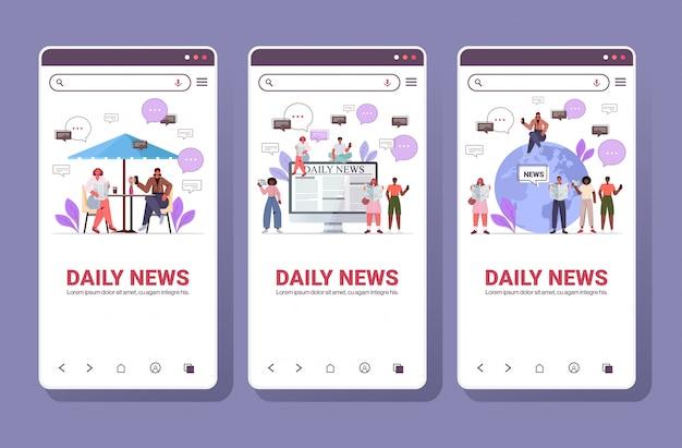 Definir raça mistura pessoas lendo jornais e discutindo o conceito de comunicação de bolha de bate-papo de notícias diárias. coleção de telas de smartphone ilustração horizontal de comprimento total de cópia de espaço