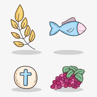 Definir ramos de folhas com o anfitrião e uvas com peixe