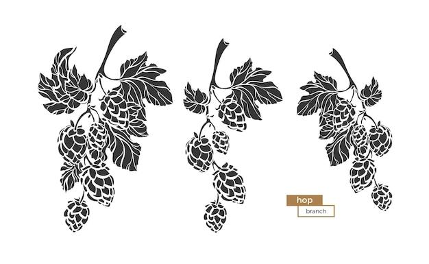 Definir ramos de lúpulo com forma de folha e cone desenho de silhueta botânica natureza