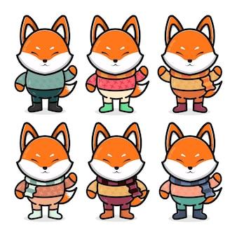 Definir raposa fofa com ilustração do conceito de outono