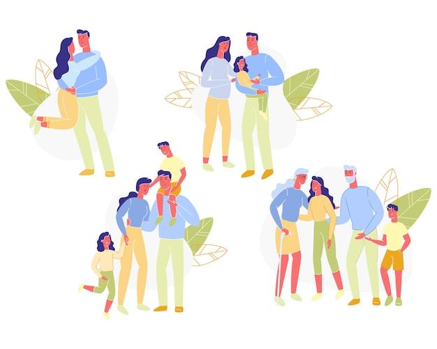Definir relações familiares entre pessoas cartoon.