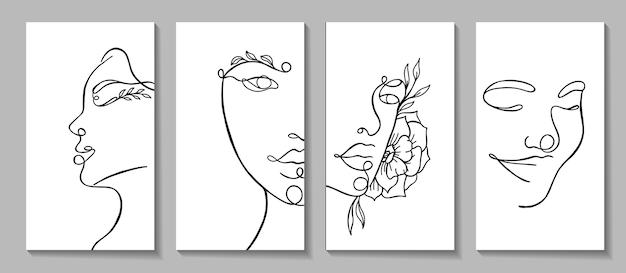 Definir retratos lineares de rosto de mulher