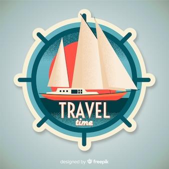 Definir rótulo de barco à vela com efeito vintage