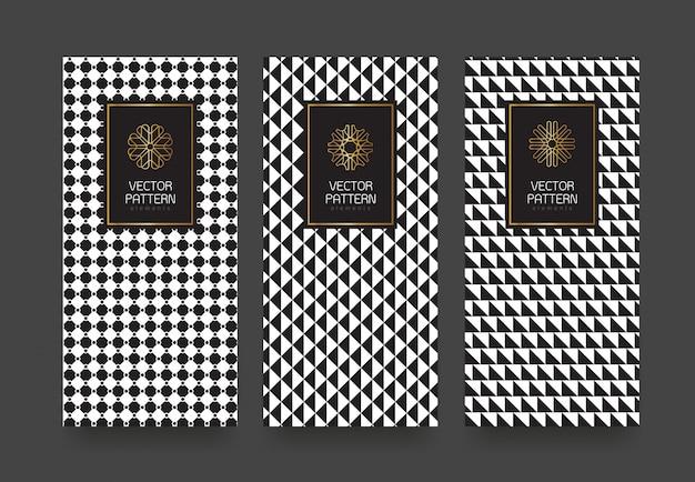 Definir rótulos modelos padrão geométrico preto e branco para produtos de luxo.