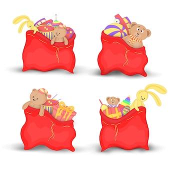 Definir sacos de natal vermelho de presentes e brinquedos
