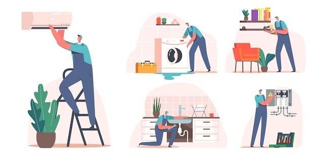 Definir serviço de reparo, eletricista, mestre de chamada de encanador no trabalho. faz-tudo mestre personagens masculinos em uniforme, trabalhando com instrumentos que consertam técnicas quebradas em casa. ilustração em vetor desenho animado