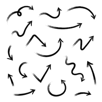 Definir setas diferentes grunge desenhados à mão