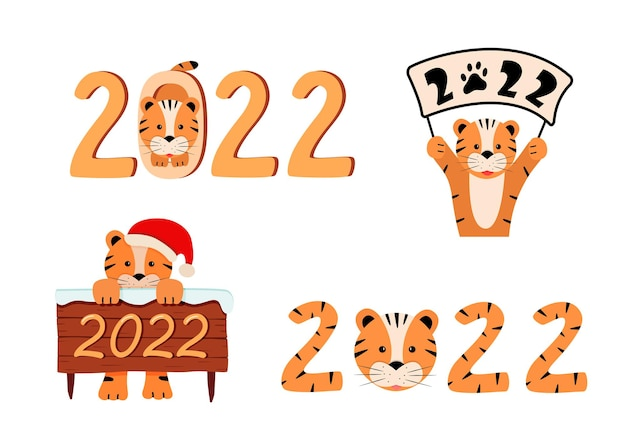 Definir símbolo bonito do ano novo 2022 é um tigre. ilustração em vetor tigre engraçado dos desenhos animados. conceito de cartão feliz ano novo e natal.