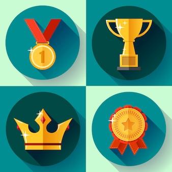 Definir símbolos de vitória dourada campeão copa, coroa, medalha, distintivo. design plano.