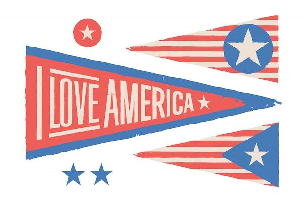 Definir símbolos eua. bandeira gráfica retro vintage, flâmula