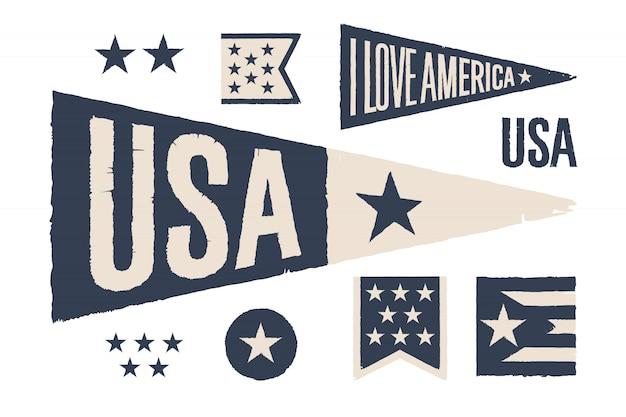 Definir símbolos eua. bandeira gráfica retro vintage, galhardete