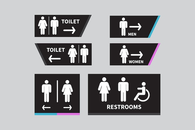 Definir sinais de toalete sinal de ícone de banheiro masculino e feminino seta para a direita cadeira de rodas para deficientes