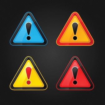 Definir sinal de atenção de aviso de perigo em uma superfície de metal