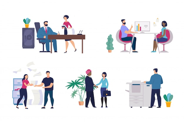 Definir situações de escritório de cartaz informativo planas.