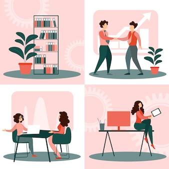 Definir situações na vida no escritório, pessoas de negócios