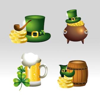 Definir st patrick celebração com chapéu e moedas