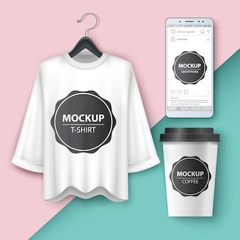 Definir t-shirt em branco, smartphone, chá xícara de café
