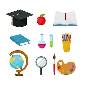 Definir tampa de pós-graduação com maçã e erlenmeyer