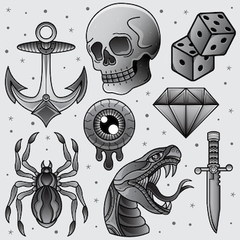 Definir tatuagem flash preto e branco