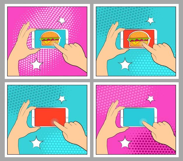 Definir telefone cômico com sombras de meio-tom. mão segurando o smartphone. estilo retrô de pop art.