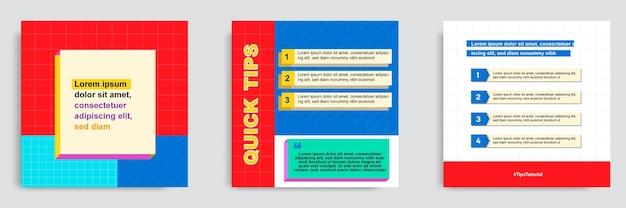 Definir tutorial de mídia social colorido, dicas, truque, você sabia modelo de banner de postagem