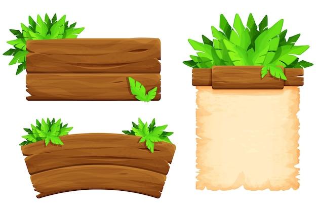 Definir uma tabuleta de madeira com folhas tropicais em estilo cartoon