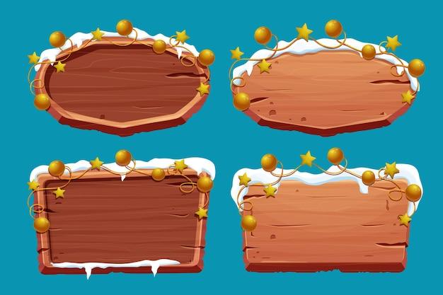 Definir uma velha tabuleta de madeira com neve e bolas de estrelas douradas no estilo cartoon