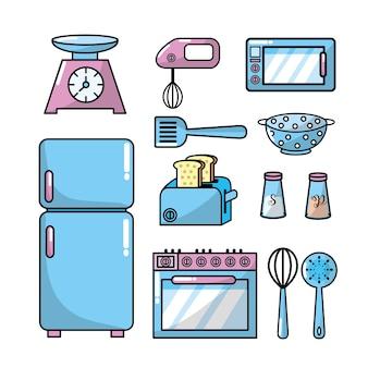 Definir utensílios de cozinha e objeto tradicional