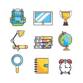 Definir utensílios de escola criativa para o conhecimento