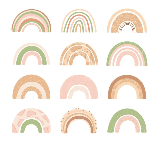 Definir vários arco-íris em estilo desenhado mão isolado no fundo branco para crianças.