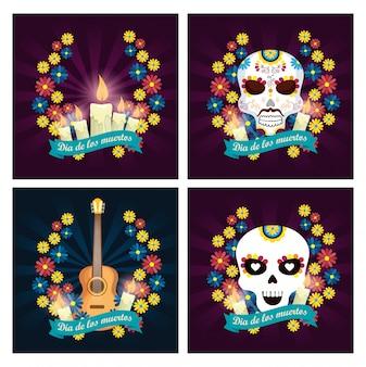 Definir velas com crânios e violão para o dia dos mortos
