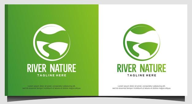 Definir vetor de design de logotipo de agricultura de jardim de natureza de rio