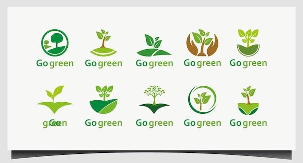 Definir vetor de design de logotipo verde go