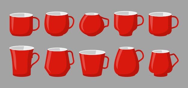 Definir xícara de maquete para bebidas, café ou chá, recipiente clássico, diferentes canecas vermelhas em estilo cartoon plana