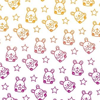 Degraded line cute mice animais engraçados fundo